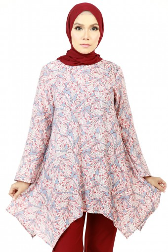 FAJRAH BASIC SLEEVE WITH LEAVES PRINTED TOP